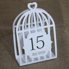 Wedding tavolo numeri UCCELLO GABBIA tabella Numeri BIANCO (1-15) LASER CUT