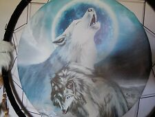 "DREAM CATCHER WOLF 24"" FEATHERS WESTERN HOME DECOR WALL ART BLUE BRAND"