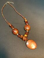 Pendant Necklace  Bohemian Vtg Vintage Lucite Beaded Nice  Brown Seed Bead Chain