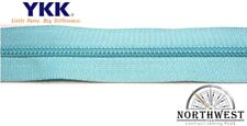 YKK Nylon Coil Zipper Tape # 5 Turquois 5 yards with 10 Nickle Zipper Sliders