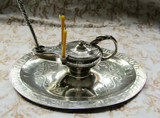 More details for a spectacular, large and unusual early victorian silver inkstand hallmarked 1857