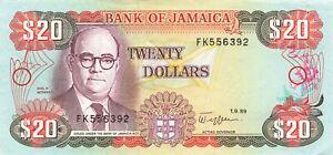 Jamaica 20 Dollars 1989 P-72c UNC