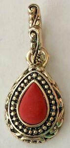 Premier Designs Jewelry Chili Pepper Silver Plated Genuine Coral Pendant