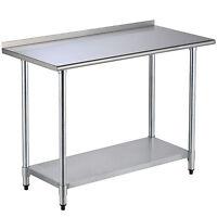 """24"""" x 48"""" inch Stainless Steel Work Prep Table w/Backsplash Kitchen Restaurant"""
