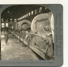 Sawing Finished Steel (Railroad) Rails into Lengths Mill Keystone Stereoview