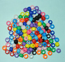 150 Pony Beads - Opaque - Rainbow Multi Colored Crafts