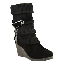 946bcf568 LADIES WOMENS MID HIGH WEDGE HEEL WINTER SOCK BIKER KNEE CALF ANKLE BOOTS  SIZE