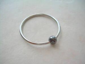 "1 1/4"" Captive Bead Ring 14g 316L Hematite Ear Body Piercing Jewelry"