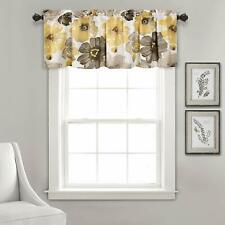 """Lush Decor Floral Window Curtain Valance, 18"""" L, Yellow and Gray"""