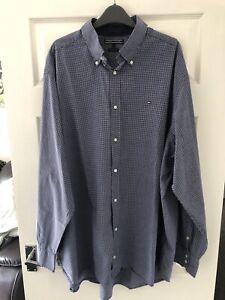 Tommy Hilfiger Men's Long Sleeve Shirt 3XLT XB Big Tall XXXL Blue White Check