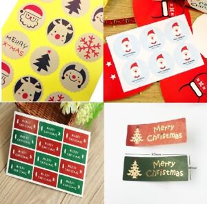 Santa Merry Christmas Stickers Happy New Year Gift Sticker Green Red