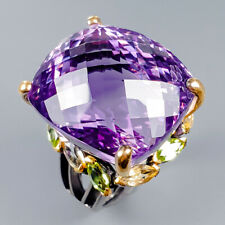Top color 35ct+ Natural Amethyst 925 Sterling Silver Ring Size 9/R117917