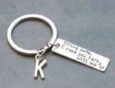 """Letter """"W"""" Schlüsselanhänger Key Chain """"Drive safe"""" Metall handmade"""