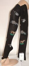 Flirt Long OVERKNEE Over The Knee Socks Black With Cows on 4 5 6 7 UK C037.f