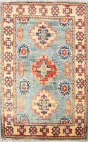 2x3 Geometric Oriental Super Kazak Wool Traditional Area Rug Hand-Knotted Carpet