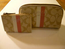 NWT: COACH Cosmetic Pouch and Mini Skinny Set in SV/Light Khaki/Pink