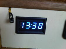 Blue 12v Digital Clock with Back up Memory Caravan Camper Boat Custom Kitcar Van