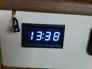 12v Blue Digital Clock with Back up Memory Caravan Camper 4x4 Boat Fast UK Post