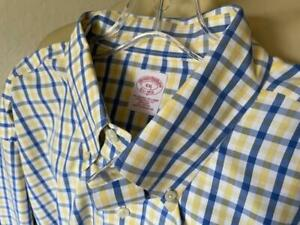 BROOKS BROTHERS Men's Blue & Yellow Checked Non Iron Dress Shirt Size XXL