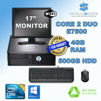 FULL DELL 500 GB DESKTOP TOWER PC TFT COMPUTER WITH WINDOWS 10 & WIFI & 4GB RAM