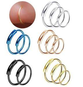 Surgical Steel Nose Ring Septum Clicker Hinge Segment Ear Ring Hoop 1.0mm* 8mm