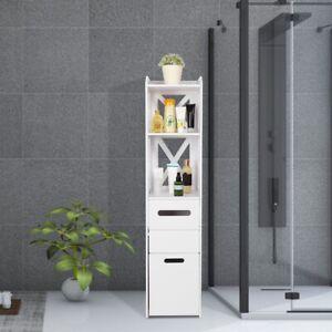 White Wood Bathroom Cabinet Tallboy Cupboard Standing Storage Shelf Furniture UK