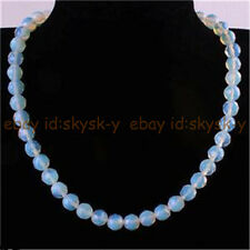 Handmade 8mm Natural Moonstone Faceted Round Beads Necklace 18''AAA