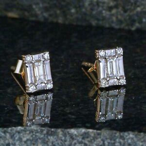 Vintage 14K Yellow Gold Brilliant Cut Diamond Baguette Cluster Stud Earrings