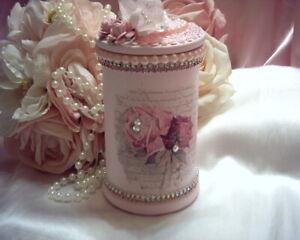 Shabby Victorian Chic Apothecary Storage Jar~PINK~RomanticLOVE Rose Design~~OOAK