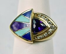Bagley & Hotchkiss 14K Yellow Gold Amethyst Diamond Gemstone Inlay Lady's Ring