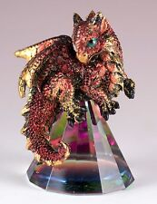 """Small Red/Gold Dragon On Pyramid Glass Figurine 3"""" High Resin New In Box"""