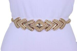 Women Fashion Belt Hip High Waist Gold Metal Chain Arrowhead Charm Buckle XS S M