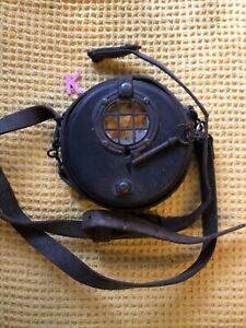 Antique Prison Guardsman Watch Clock In Leather Case With Key