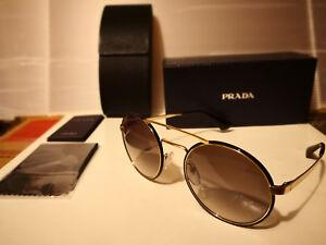 NEW PRADA PR 51SS 1AB0A7 Sunglasses Black Pale Gold / Gray Gradient 54-22-135mm
