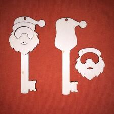 50 x medium SANTA KEY FATHER CHRISTMAS UNPAINTED CRAFT BLANK WOODEN HANGING TAG