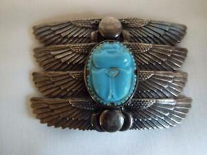 Vintage French Piel Freres Egyptian Revival belt buckle.