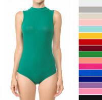 Women's Basic Mock Neck Sleeveless Bodysuit Stretch Ribbed Knit Tank Solid Top