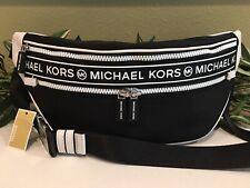 MICHAEL KORS KENLY MEDIUM WAISTPACK XBODY FANNY BELT BAG BLACK NYLON LEATHER