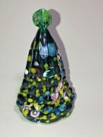 Vtg Pairpoint Art Glass Tree Paperweight Hand Blown Multi-Colored Cape Cod, MA