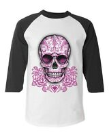 Sugar Skull Cross Pink Roses Baseball Raglan T-Shirt Day of the Dead Los Muertos
