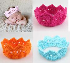 4pcs Infant Newborn Baby Crochet Knit Girl Crown Headbands Hair Band Accessories