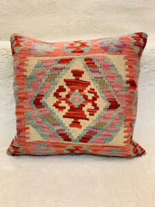 Geometric Multi Coloured Antique Cushion Cover of Afghan Handmade Wool Kilim