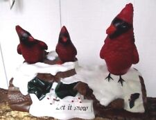 Vtg Gemmy Singing Red Cardinal Birds LET IT SNOW Animated Christmas Display