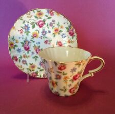 Royal Standard Teacup And Saucer - White With Multi-color Chintz Flowers