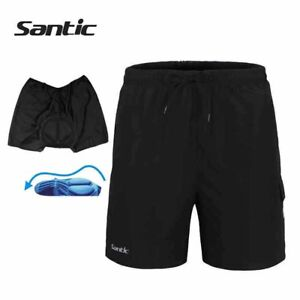 SANTIC Cycling Baggy Casual Shorts Bicycle Sports Short Pants With Padded Black