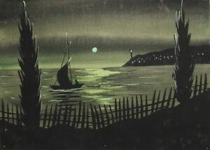 Vintage gouache painting night seascape