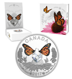 CANADA $3 2017 Silver Proof Celebration of Love - Butterflies Swarovski® crystal