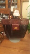 Brahmin Black With Brown Leather Shoulderbag Handbag Purse