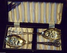 ENGLISH SHEFFIELD SILVER - KINGS PATTERN - CASED GILDED BERRY SPOON SET - SUPERB