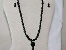 HANDCRAFTED GENUINE MULTI SHAPED BLACK  AGATE SILVER PLATED NECKLACE SET GG116